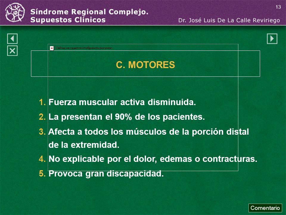 C. MOTORES 1. Fuerza muscular activa disminuida.