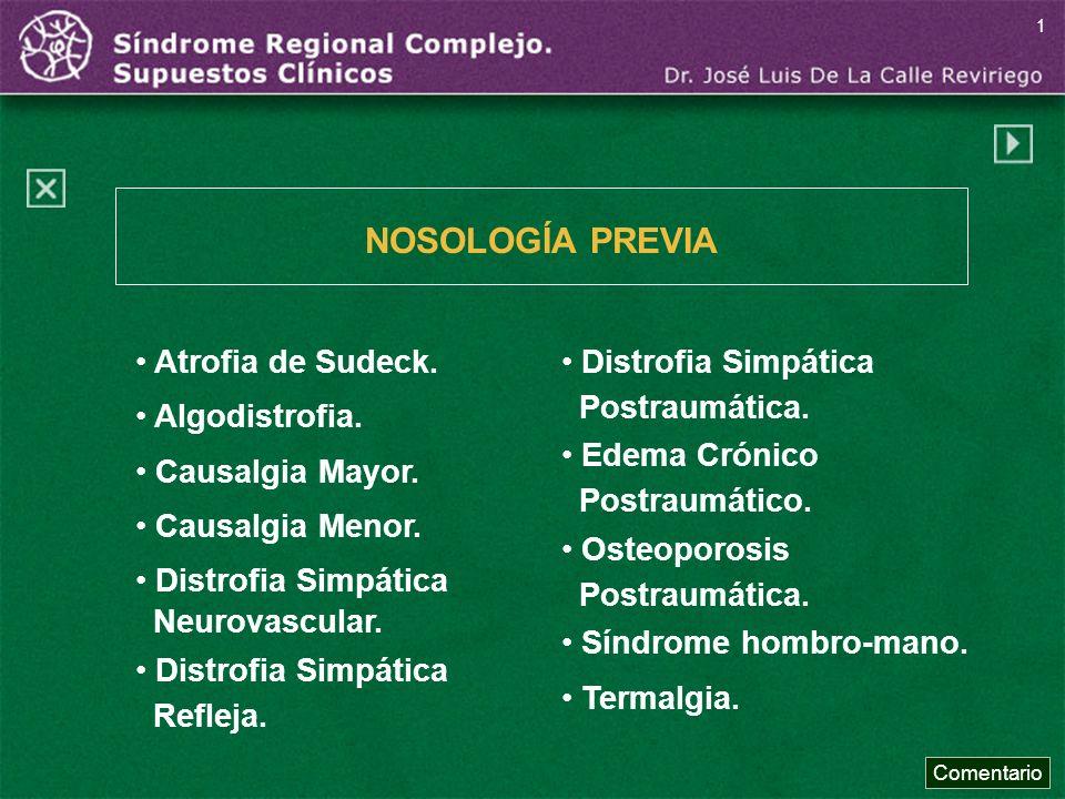NOSOLOGÍA PREVIA Atrofia de Sudeck. Algodistrofia. Causalgia Mayor.