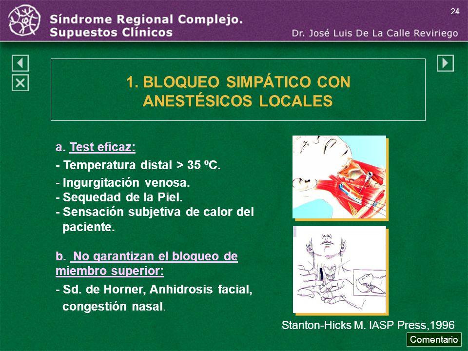 1. BLOQUEO SIMPÁTICO CON ANESTÉSICOS LOCALES