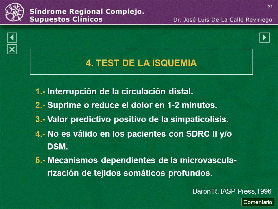 4. TEST DE LA ISQUEMIA 1.- Interrupción de la circulación distal.