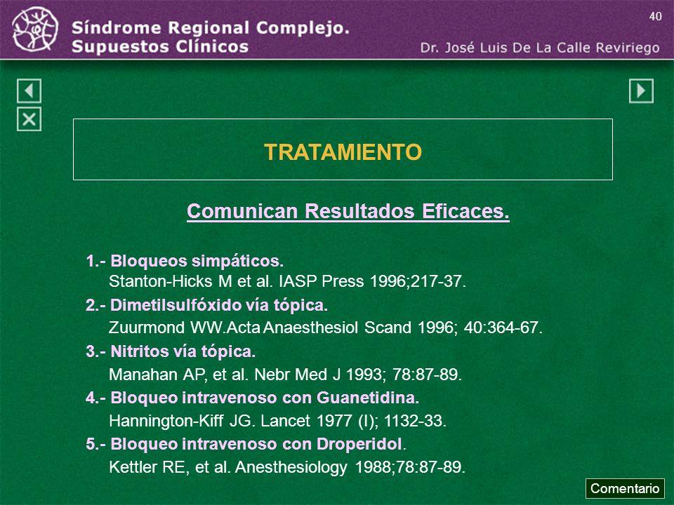 TRATAMIENTO Comunican Resultados Eficaces. 1.- Bloqueos simpáticos.