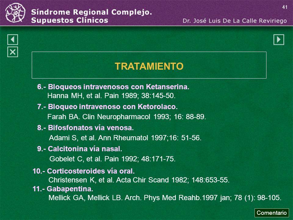 TRATAMIENTO 6.- Bloqueos intravenosos con Ketanserina.