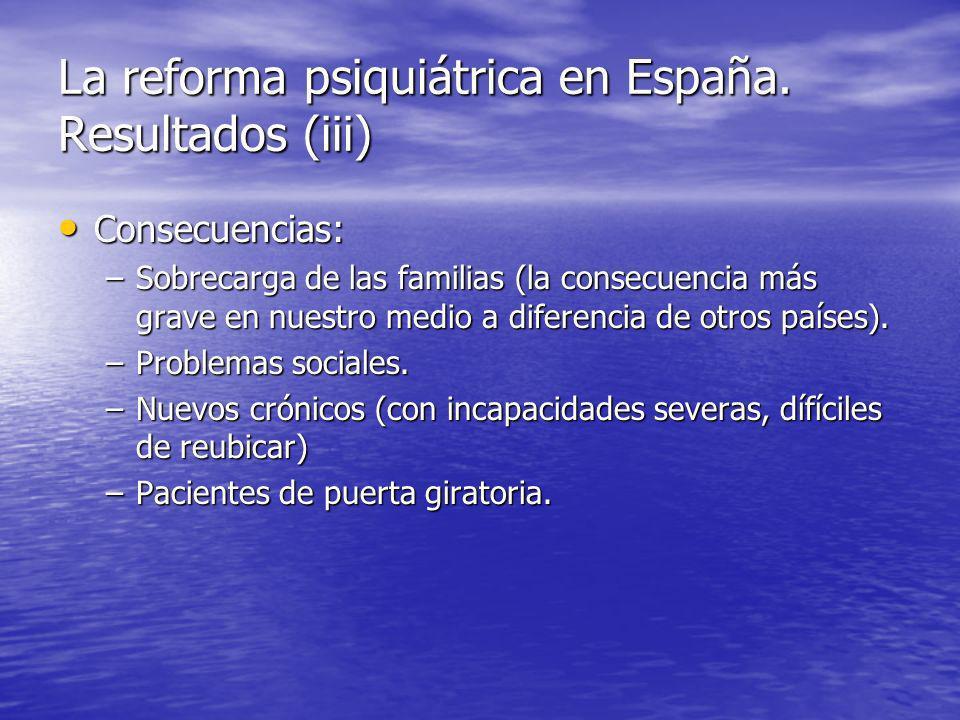 La reforma psiquiátrica en España. Resultados (iii)