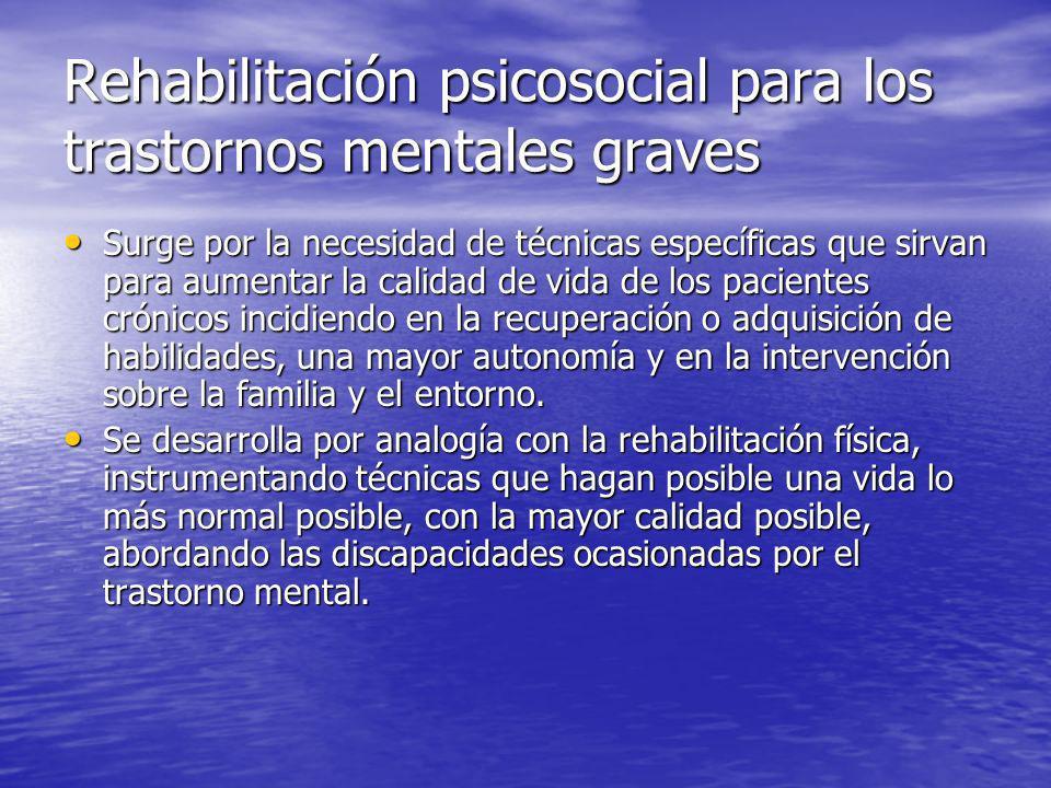 Rehabilitación psicosocial para los trastornos mentales graves