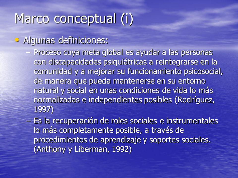 Marco conceptual (i) Algunas definiciones: