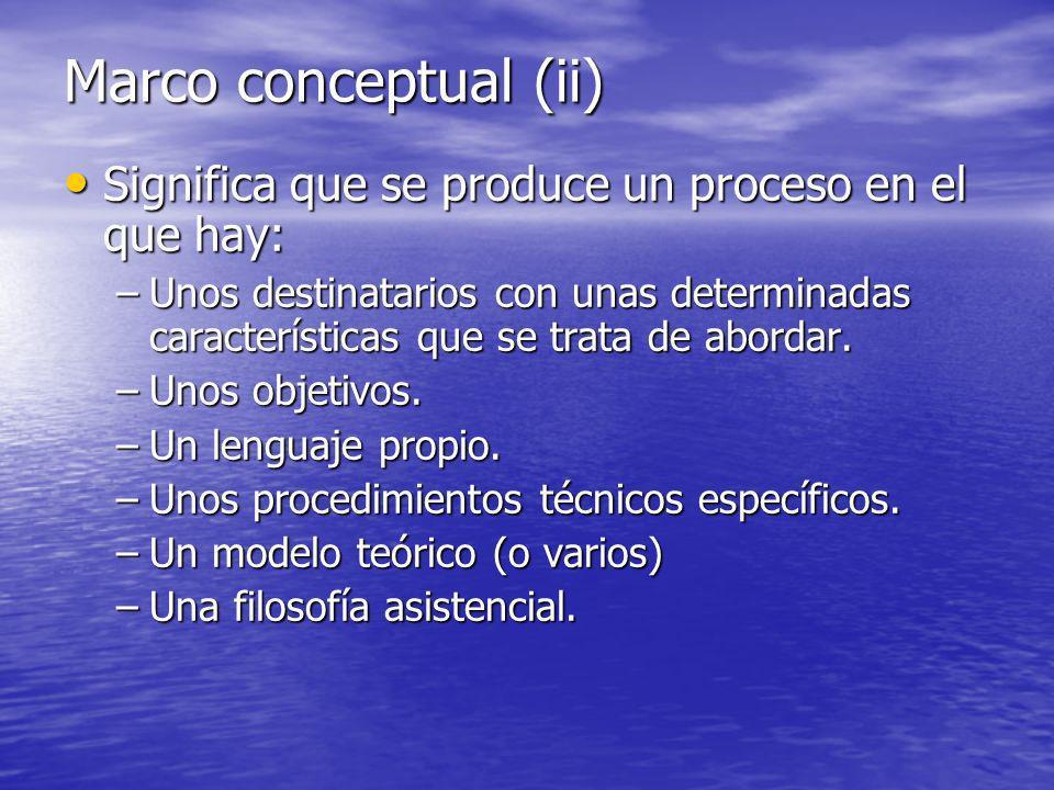 Marco conceptual (ii) Significa que se produce un proceso en el que hay:
