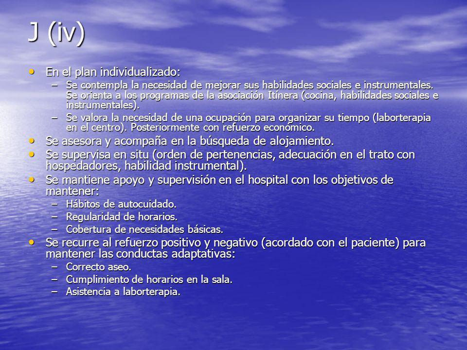J (iv) En el plan individualizado: