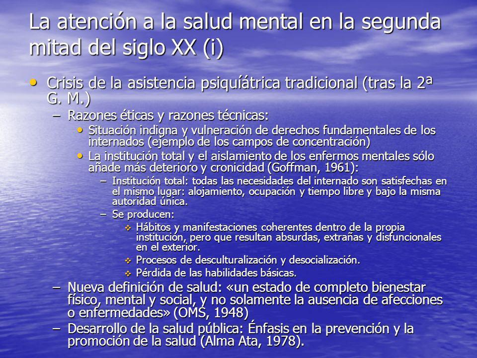 La atención a la salud mental en la segunda mitad del siglo XX (i)