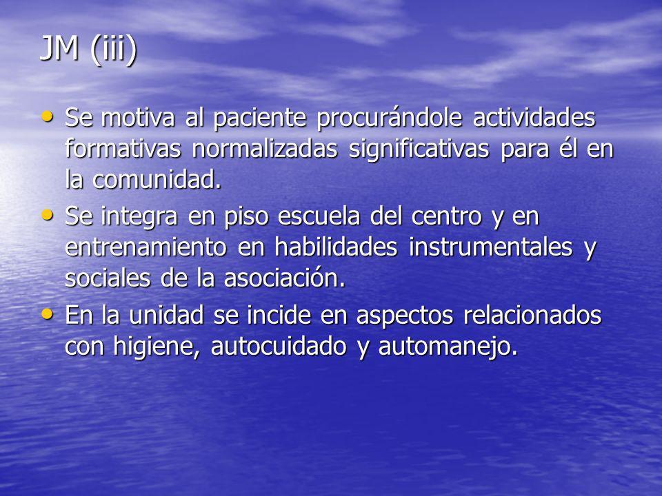 JM (iii) Se motiva al paciente procurándole actividades formativas normalizadas significativas para él en la comunidad.