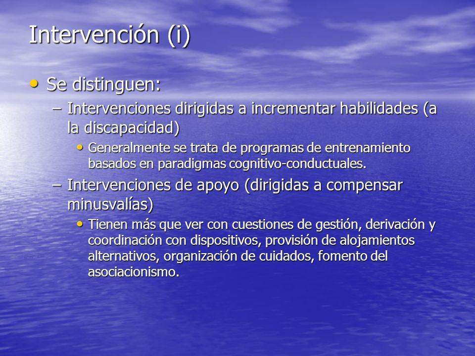 Intervención (i) Se distinguen: