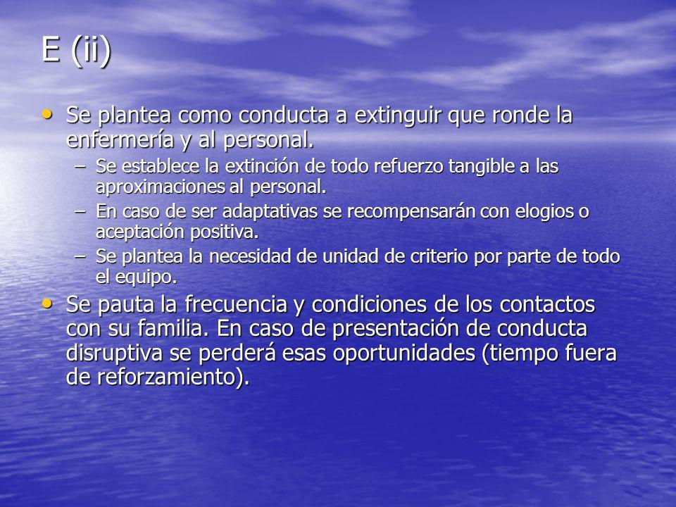 E (ii) Se plantea como conducta a extinguir que ronde la enfermería y al personal.