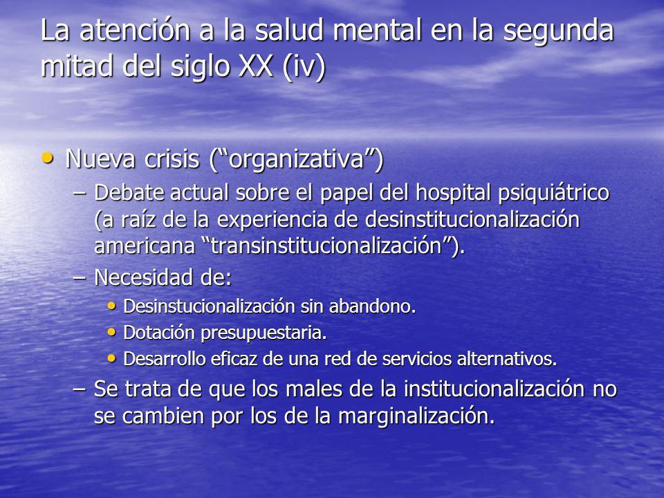 La atención a la salud mental en la segunda mitad del siglo XX (iv)
