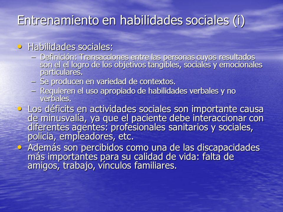 Entrenamiento en habilidades sociales (i)
