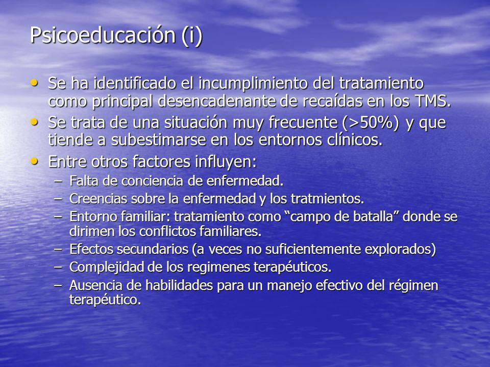 Psicoeducación (i) Se ha identificado el incumplimiento del tratamiento como principal desencadenante de recaídas en los TMS.