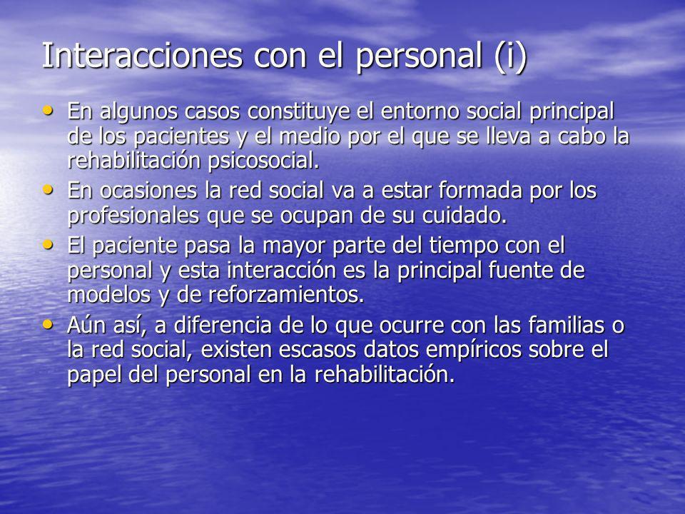 Interacciones con el personal (i)