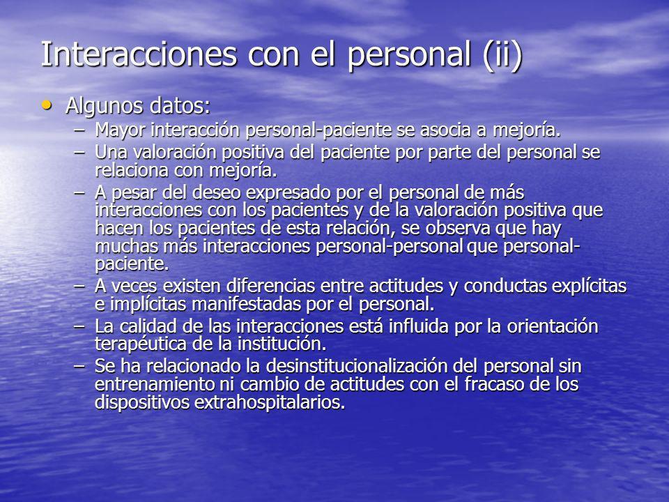 Interacciones con el personal (ii)