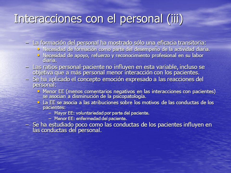 Interacciones con el personal (iii)