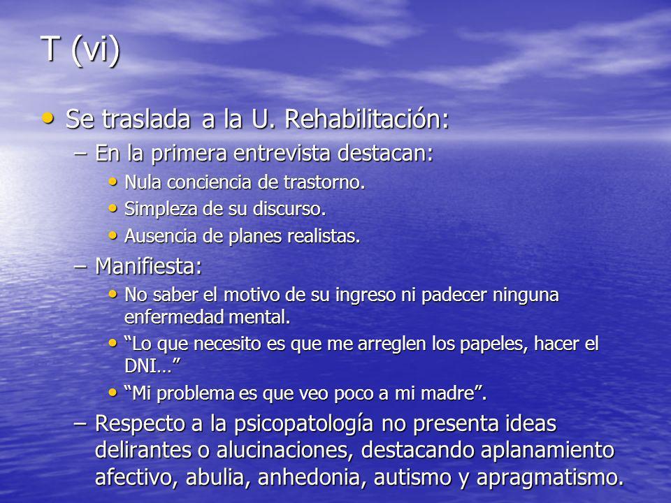 T (vi) Se traslada a la U. Rehabilitación: