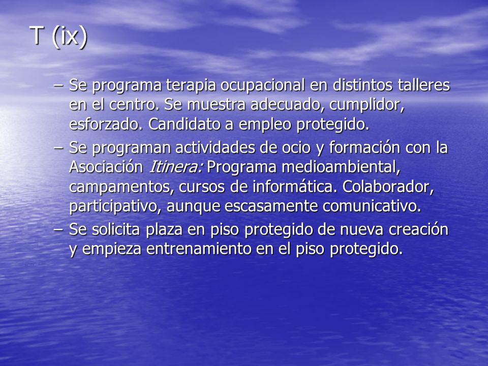 T (ix) Se programa terapia ocupacional en distintos talleres en el centro. Se muestra adecuado, cumplidor, esforzado. Candidato a empleo protegido.