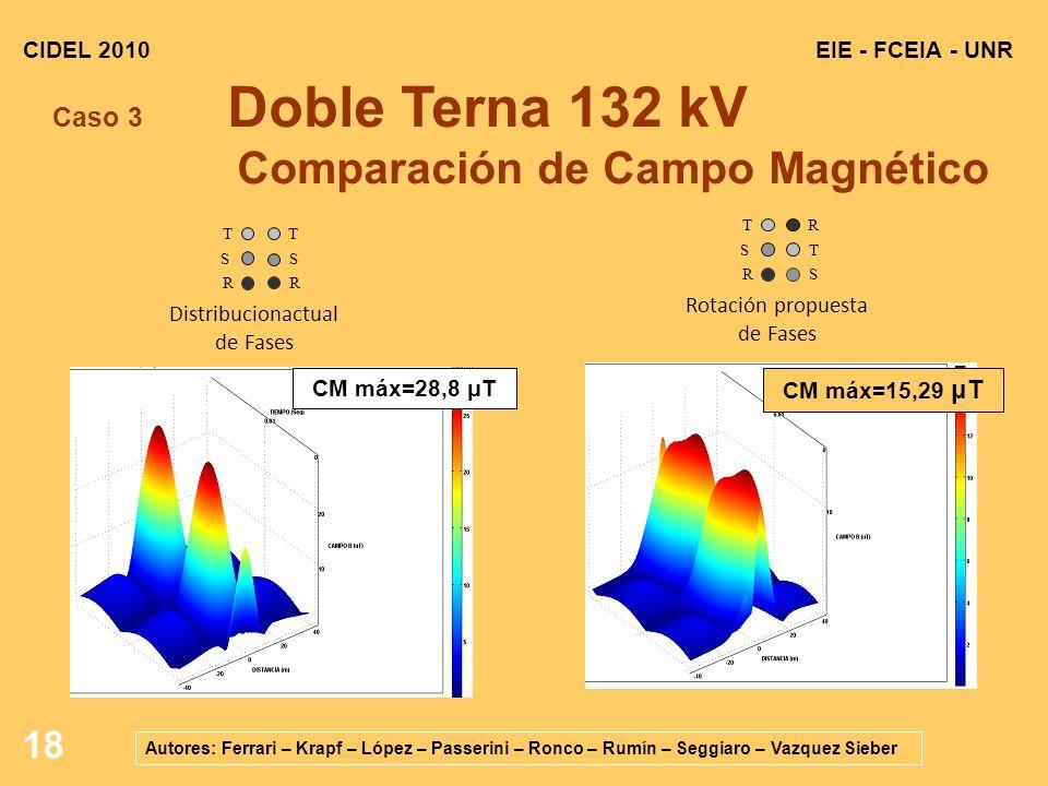 Caso 3 Doble Terna 132 kV Comparación de Campo Magnético