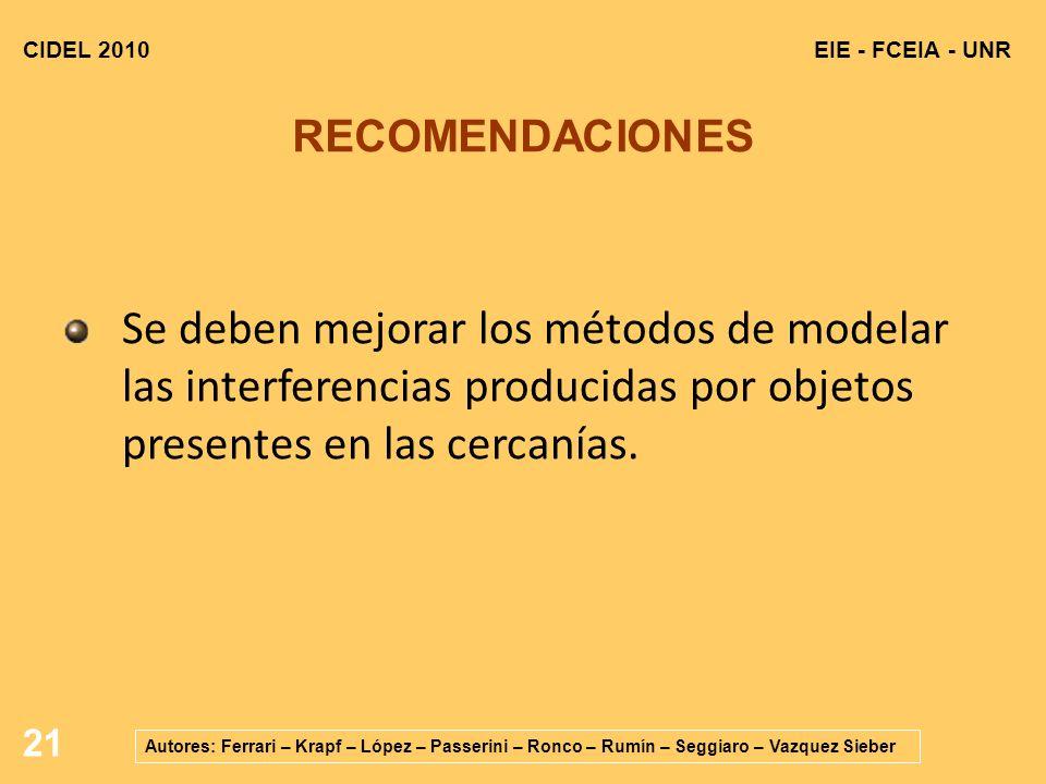CIDEL 2010 EIE - FCEIA - UNR. RECOMENDACIONES.