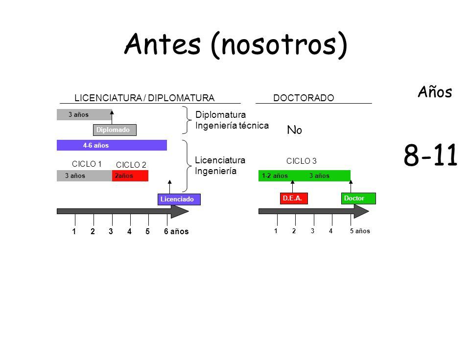Antes (nosotros) 8-11 Años No LICENCIATURA / DIPLOMATURA DOCTORADO