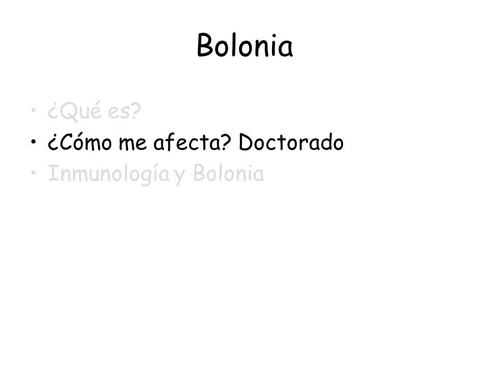 Bolonia ¿Qué es ¿Cómo me afecta Doctorado Inmunología y Bolonia