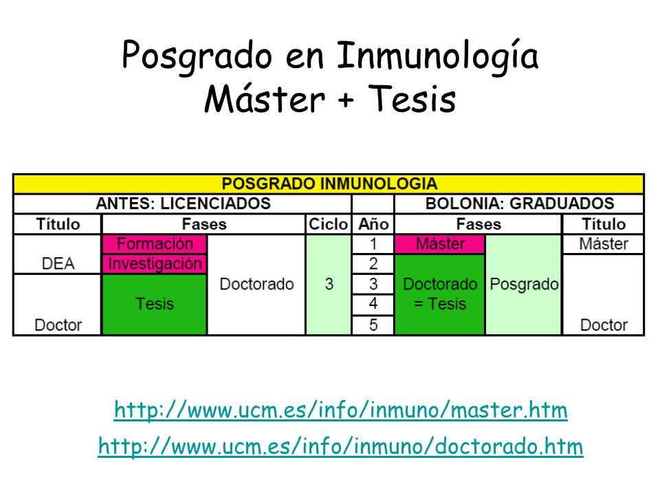 Posgrado en Inmunología Máster + Tesis