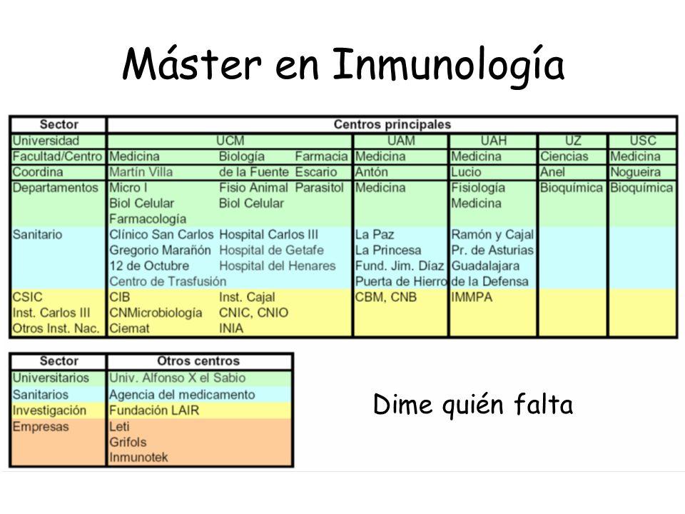 Máster en Inmunología Dime quién falta
