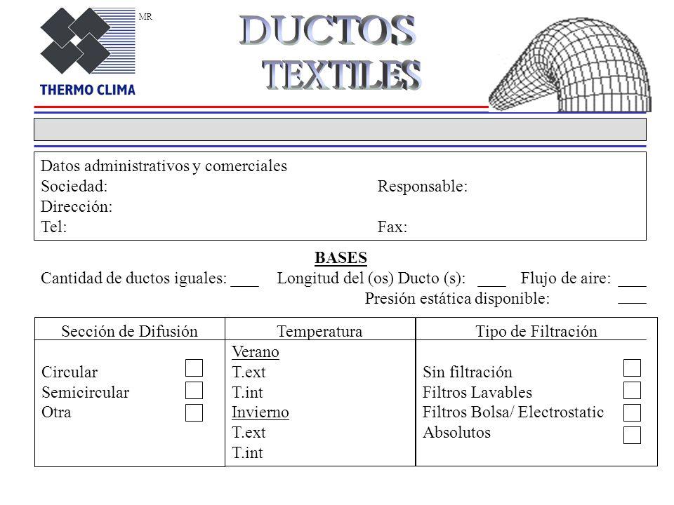 DUCTOS TEXTILES Datos administrativos y comerciales