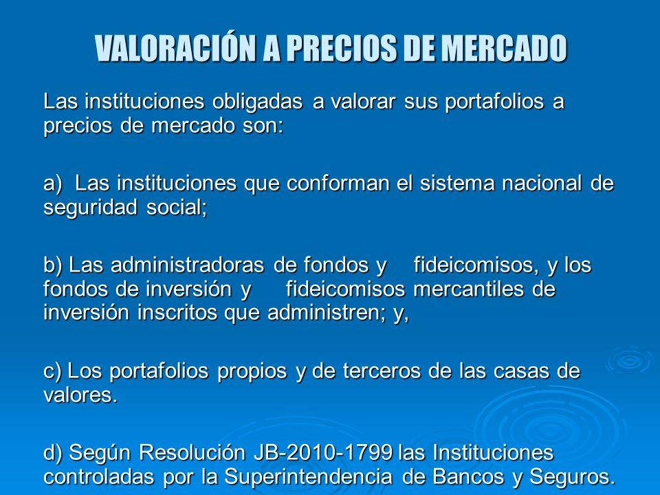 VALORACIÓN A PRECIOS DE MERCADO