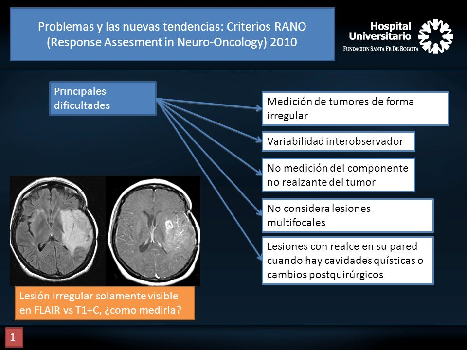 Problemas y las nuevas tendencias: Criterios RANO (Response Assesment in Neuro-Oncology) 2010