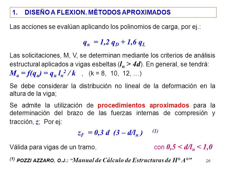 qu = 1,2 qD + 1,6 qL zF = 0,3 d (3 – d/ln ) (1)