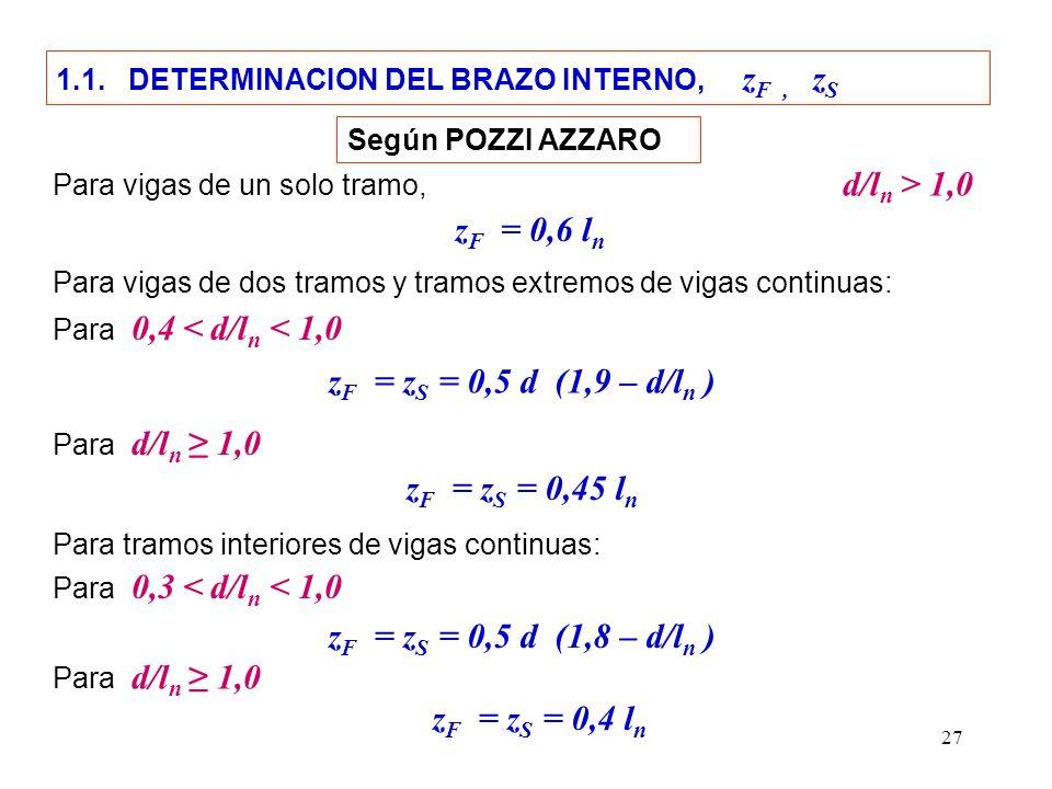 zF = 0,6 ln zF = zS = 0,5 d (1,9 – d/ln ) zF = zS = 0,45 ln