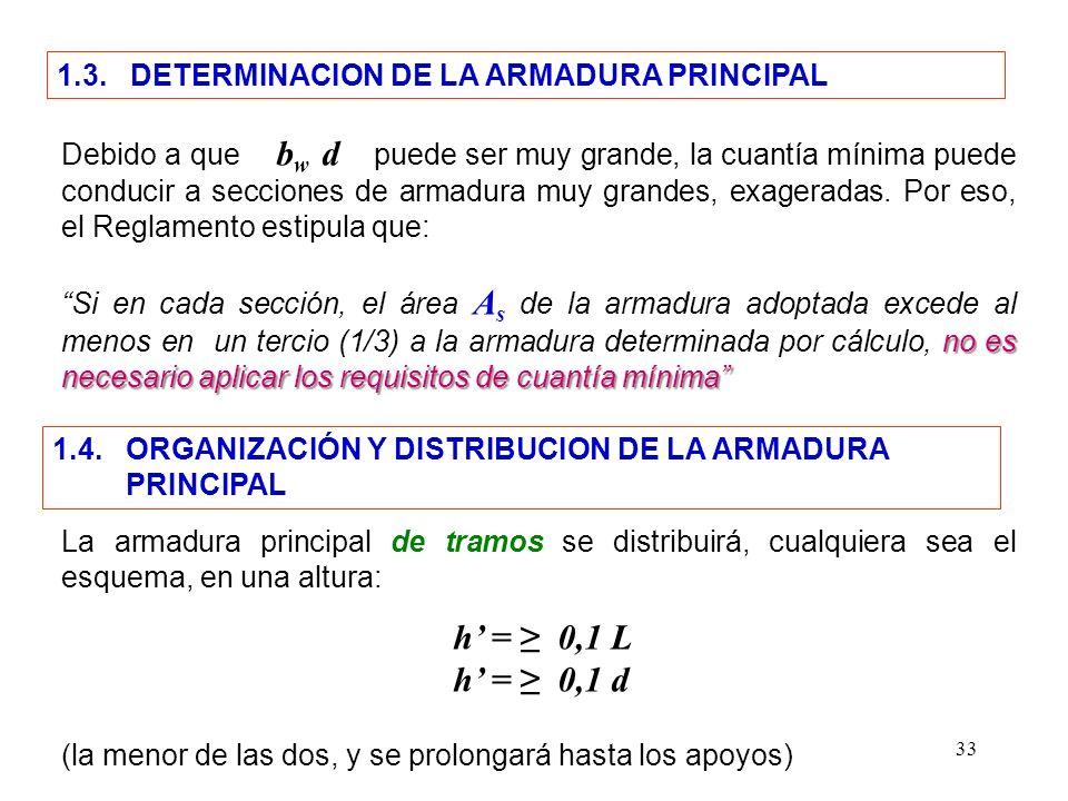 h' = ≥ 0,1 L h' = ≥ 0,1 d 1.3. DETERMINACION DE LA ARMADURA PRINCIPAL