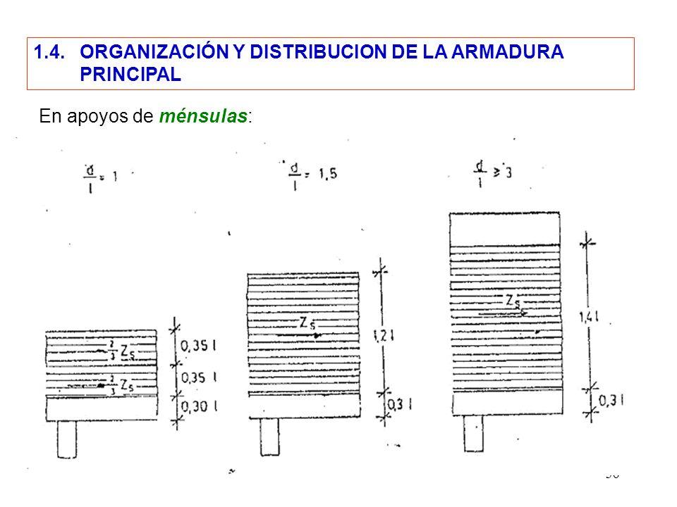 1.4. ORGANIZACIÓN Y DISTRIBUCION DE LA ARMADURA
