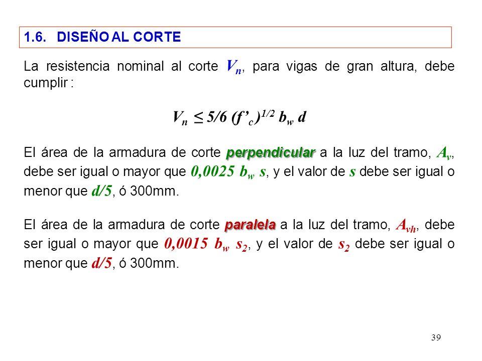 Vn ≤ 5/6 (f'c )1/2 bw d 1.6. DISEÑO AL CORTE
