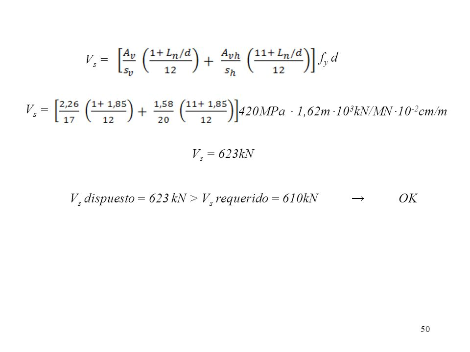 Vs = fy d. Vs = 420MPa ∙ 1,62m ∙103kN/MN ∙10-2cm/m.