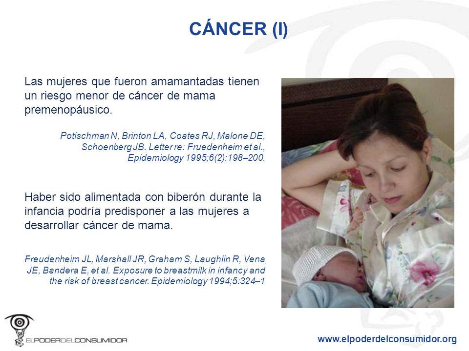 CÁNCER (I) Las mujeres que fueron amamantadas tienen un riesgo menor de cáncer de mama premenopáusico.