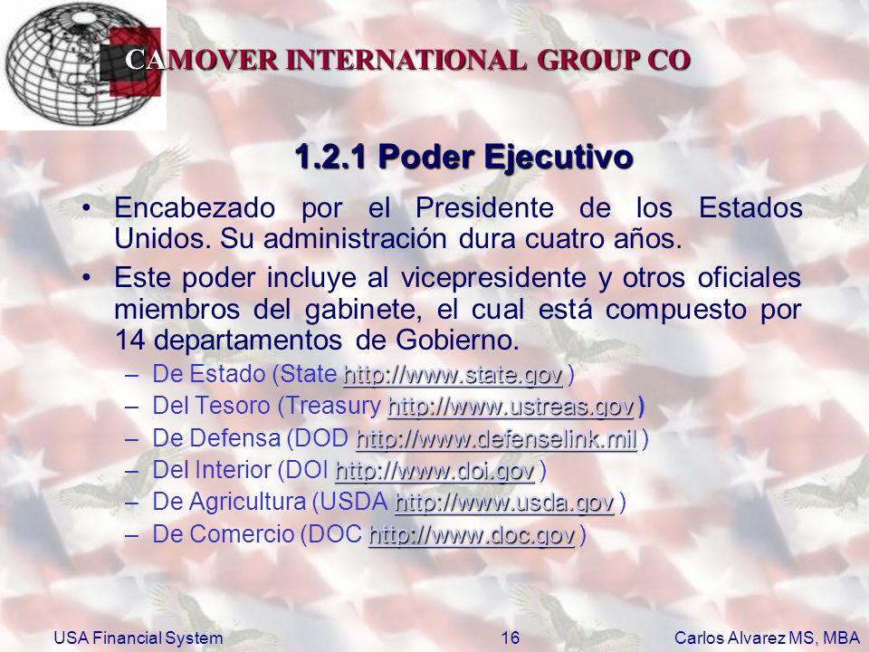 1.2.1 Poder Ejecutivo Encabezado por el Presidente de los Estados Unidos. Su administración dura cuatro años.