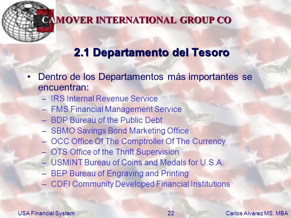 2.1 Departamento del Tesoro