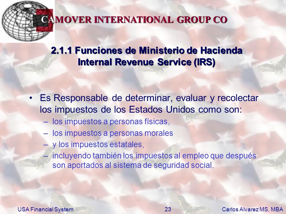 2.1.1 Funciones de Ministerio de Hacienda Internal Revenue Service (IRS)