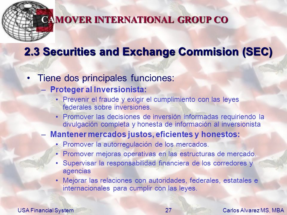 2.3 Securities and Exchange Commision (SEC)