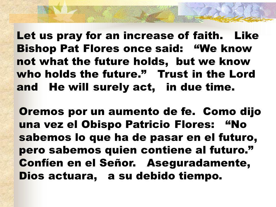 Let us pray for an increase of faith
