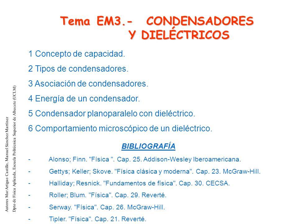 Tema EM3.- CONDENSADORES Y DIELÉCTRICOS