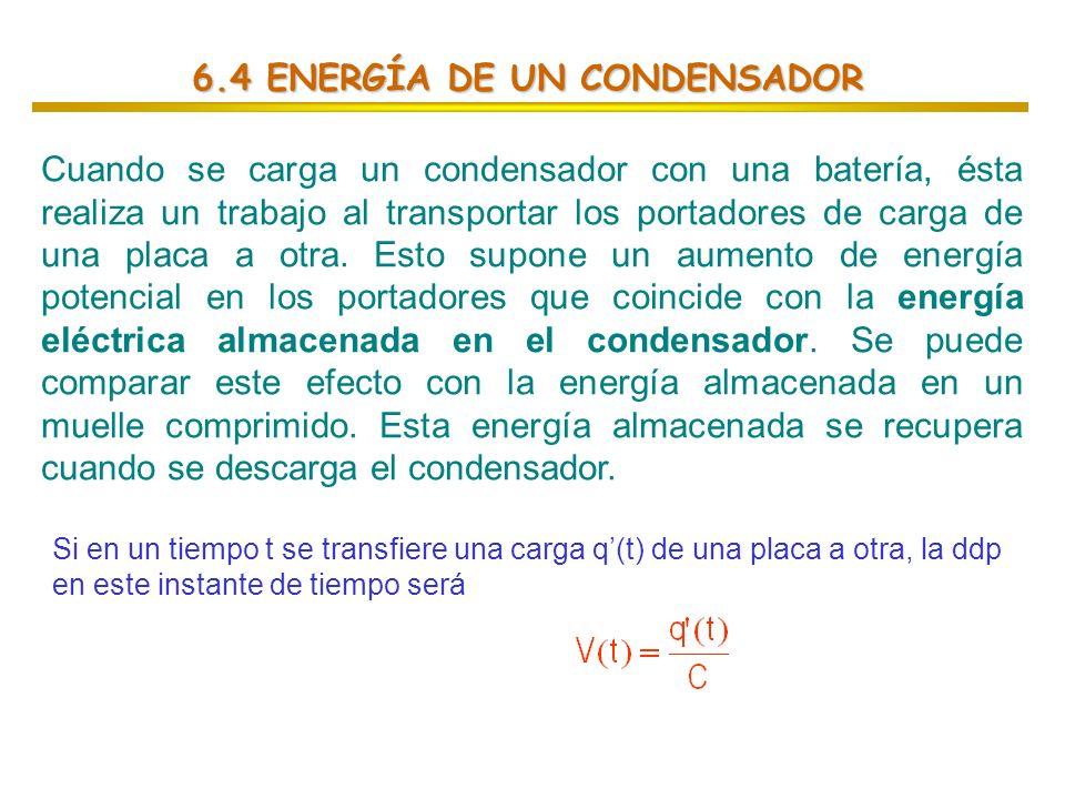 6.4 ENERGÍA DE UN CONDENSADOR