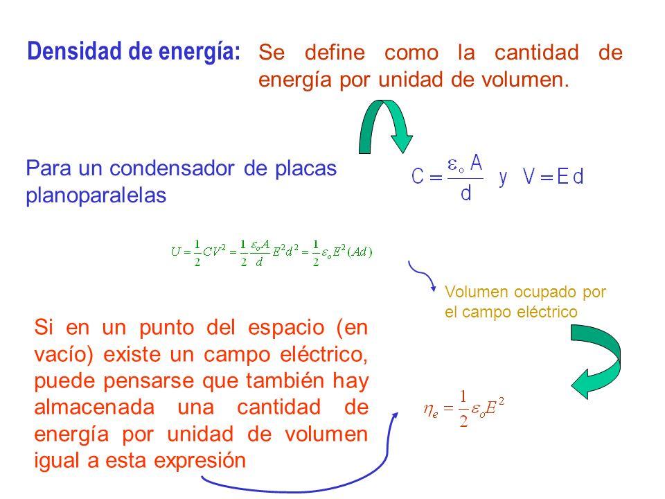 Densidad de energía: Se define como la cantidad de energía por unidad de volumen. Para un condensador de placas planoparalelas.