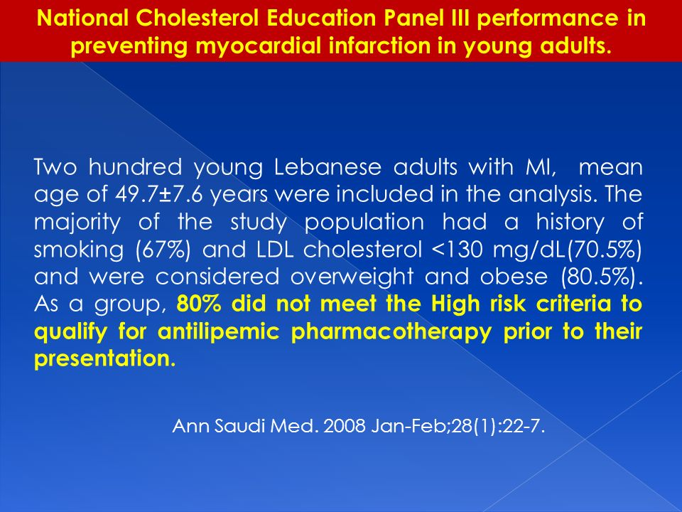 National Cholesterol Education Panel III performance in