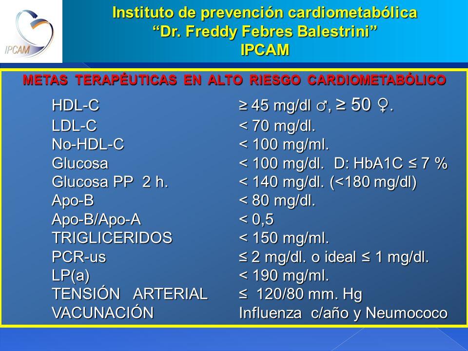 HDL-C ≥ 45 mg/dl ♂, ≥ 50 ♀. Instituto de prevención cardiometabólica
