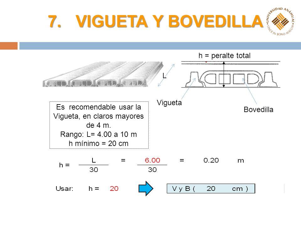 Es recomendable usar la Vigueta, en claros mayores de 4 m.